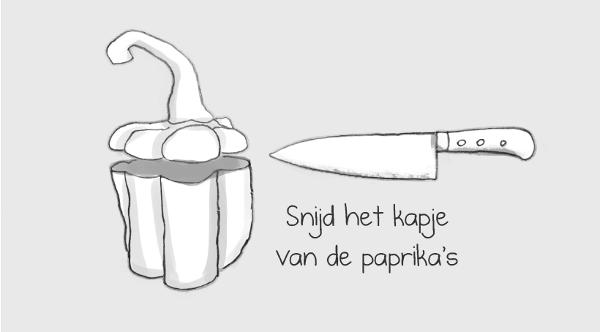 Snijd het kapje van de paprika's